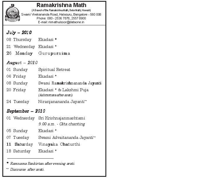 Programs at Ramakrishna Math